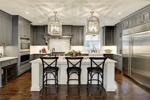 现代简约美式风格大户型整体厨房装修效果图