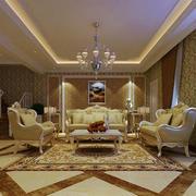 精致华丽欧式风格别墅室内客厅吊灯装修效果图