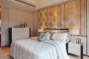 24平米现代简约风格卧室背景墙装修效果图