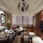 52平米古典美式风格客厅飘窗装修效果图赏析