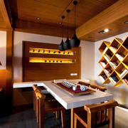 自然朴实日式风格餐厅背景墙装修效果图赏析