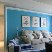 80平米地中海风格客厅沙发背景墙装修效果图