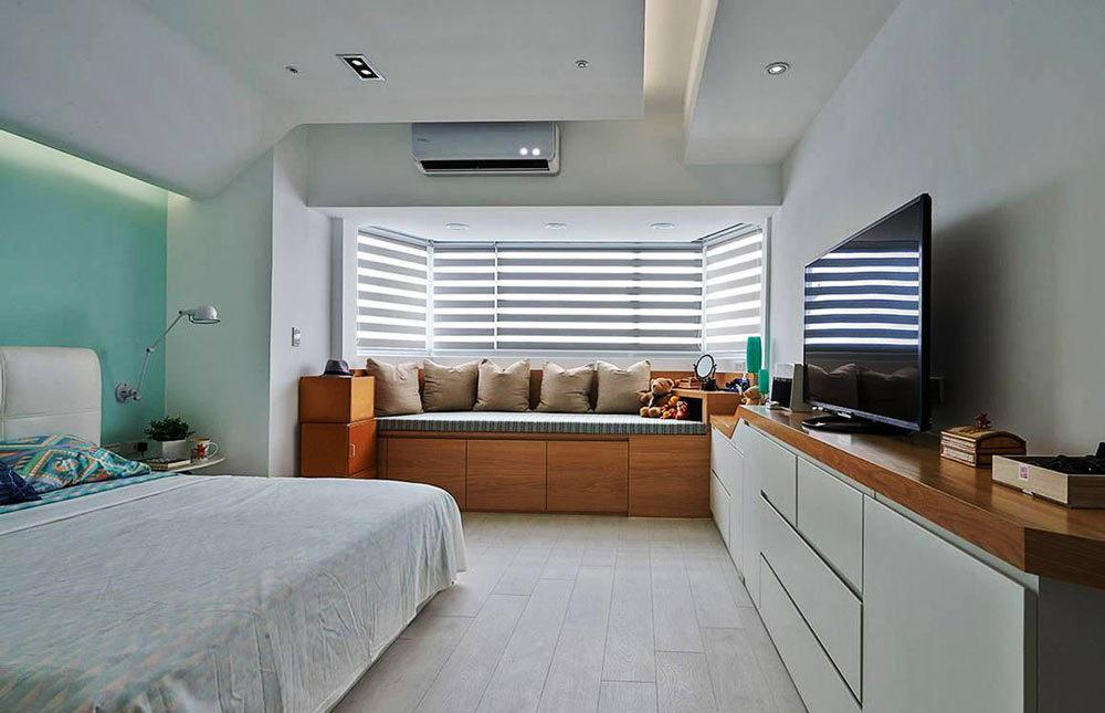清新自然美式风格卧室飘窗设计装修效果图