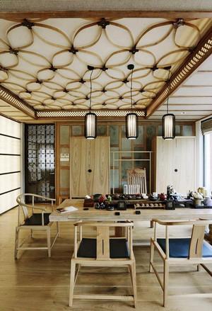 138平米新中式风格时尚餐厅吊顶装修效果图