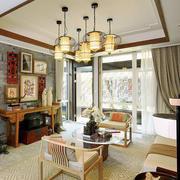 新中式风格两居室室内客厅照片墙装修效果图