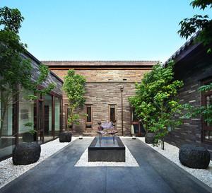 300平米中式风格别墅花园装修效果图
