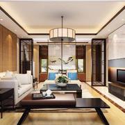 中式风格大户型室内客厅屏风隔断设计效果图