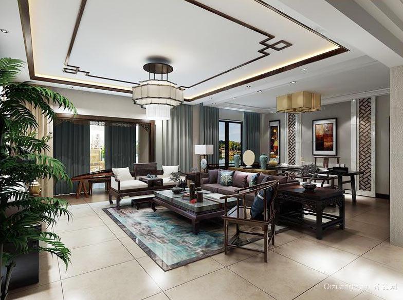 中式风格三居室室内客厅吊灯设计装修效果图