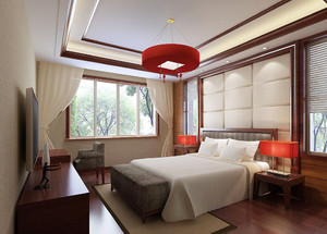 25平米新中式风格卧室窗帘设计效果图鉴赏
