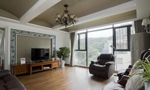 90平米美式风格客厅电视背景墙装修效果图赏析