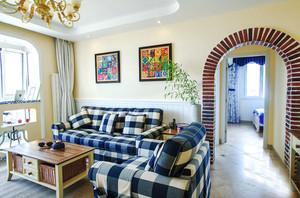 蓝白地中海风格三室两厅室内装修效果图赏析