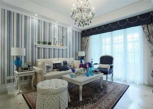 地中海风格两居室室内客厅窗帘设计装修效果图