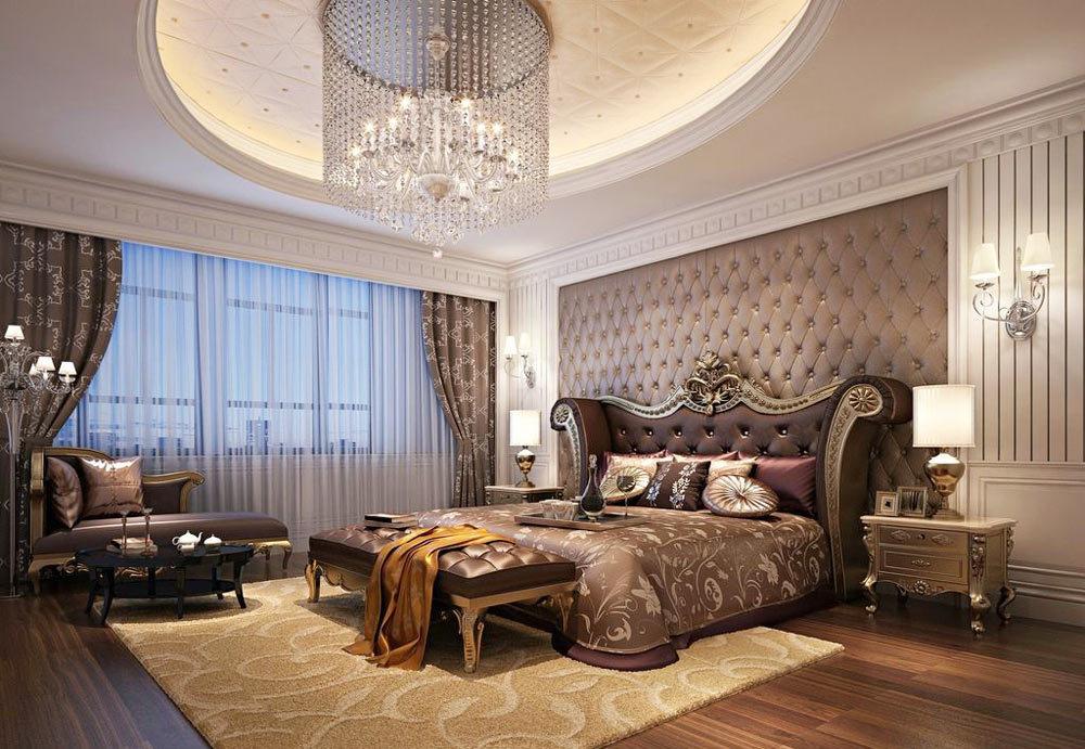 古典欧式风格别墅室内卧室圆形吊顶设计装修效果图