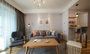 70平米北欧风格客厅窗帘装修效果图赏析