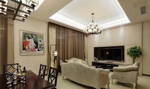 100平米现代中式风格客厅吊灯设计效果图