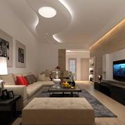 现代简约风格大户型客厅吊顶装修效果图鉴赏