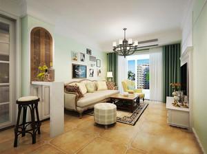 美式田园风格三居室室内客厅吧台装修效果图