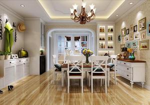美式田园风格两居室室内餐厅背景墙装修效果图