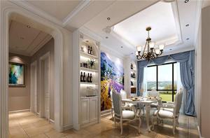 欧式风格复式楼室内餐厅窗帘设计装修效果图