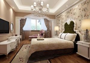 30平米欧式田园风格卧室背景墙装修效果图