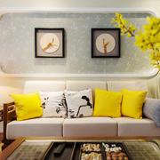 80平米现代简约中式风格客厅沙发背景墙设计效果图