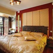 27平米新中式风格卧室背景墙设计装修效果图