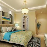清新地中海风格卧室背景墙装修效果图