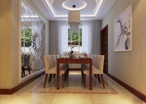 新中式风格大户型室内餐厅圆形吊顶设计装修效果图