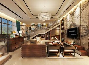 时尚中西混搭风格复式楼室内装修设计效果图