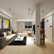50平米后现代风格客厅沙发背景墙装修效果图