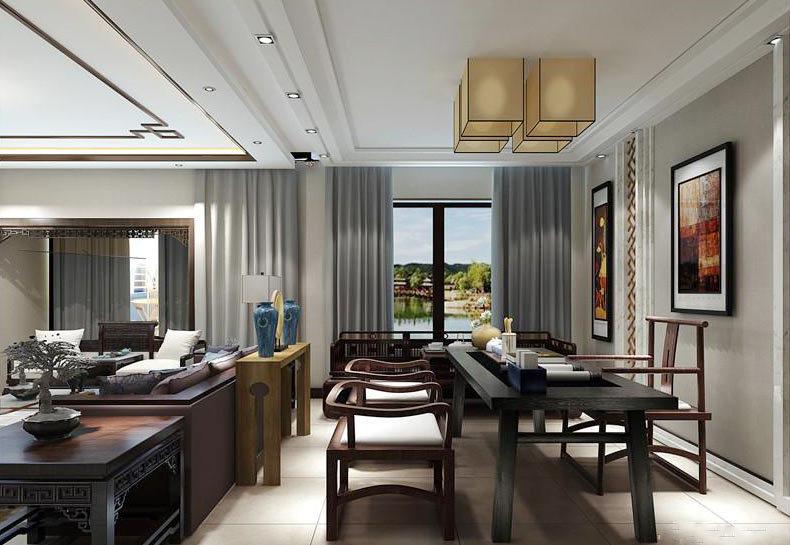 精致中式风格大户型室内餐厅隔断装修效果图