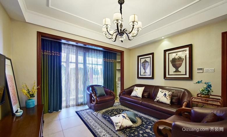 古典美式风格三室两厅一卫室内装修效果图赏析