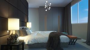 后现代风格一居室卧室背景墙装修效果图赏析