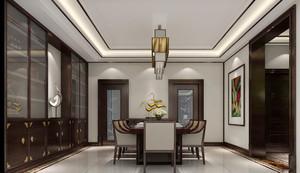 新中式风格大户型室内餐厅背景墙装修效果图