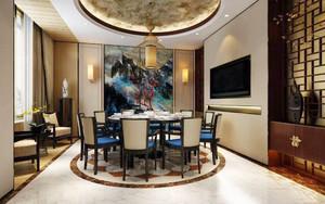 古典精致中式风格大户型室内餐厅圆形吊顶装修效果图