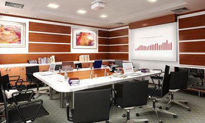 现代风格会议室背景墙装修效果图
