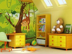 现代简约时尚创意儿童房手绘墙装修效果图