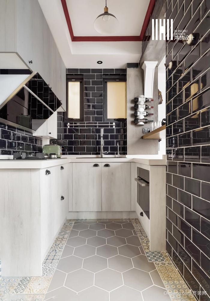 复古风格小厨房整体装修效果图