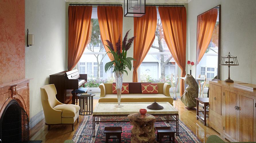 东南亚风格大户型客厅窗帘设计效果图赏析