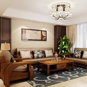 中式风格二居室客厅吸顶灯装修效果图鉴赏
