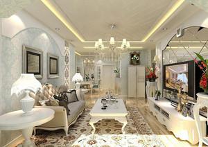 自然舒适欧式田园风格两室两厅室内装修效果图