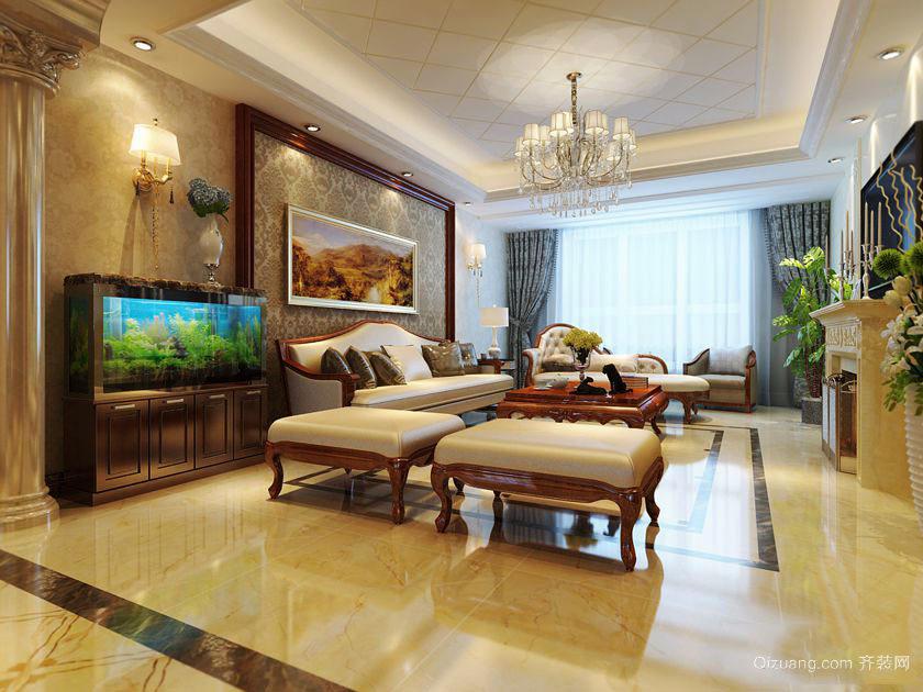 精致典雅欧式风格三室两厅室内装修效果图赏析