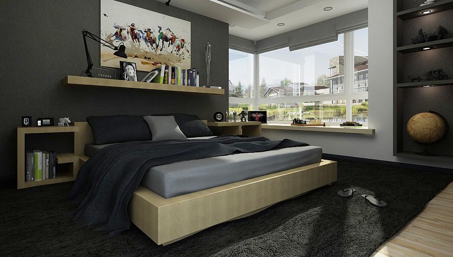 后现代风格一居室卧室飘窗装修设计效果图