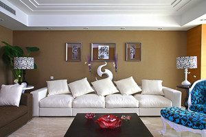 78平米现代简约风格客厅沙发背景墙装修效果图
