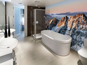 现代简约风格大户型室内卫生间3D背景墙装修效果图