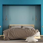 现代简约风格清新舒适卧室背景墙装修效果图