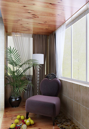 现代简约风格三居室室内封闭式阳台装修效果图
