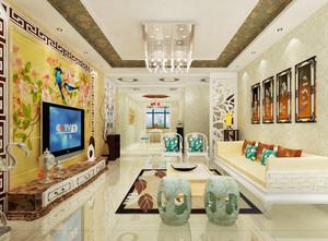 新中式风格时尚混搭客厅电视背景墙装修效果图赏析