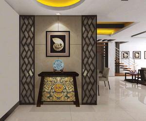 东南亚风格复式楼进门玄关鞋柜装修效果图