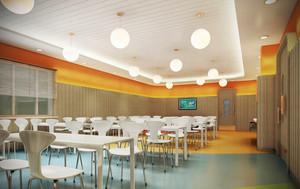 60平米现代简约风格幼儿园餐厅设计装修效果图